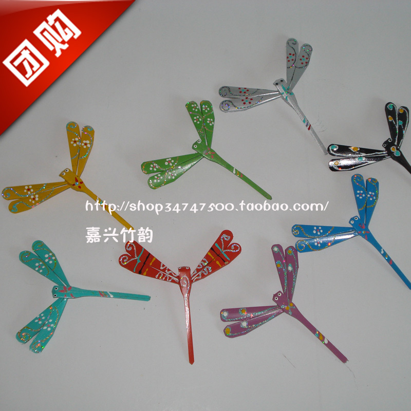 Reminisced toys traditional diy toy made of bamboo colorful colored drawing bamboo dragonfly balancing device(China (Mainland))