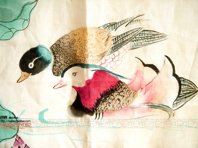 Traditional handmade colored drawing mandarin duck home textile fabric tv dust cover lcd cover air conditioner cover customize(China (Mainland))