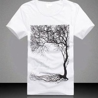 men summer short sleeve T-shirt Popular big tree picture  han edition  t-shirts men's free shipping 9