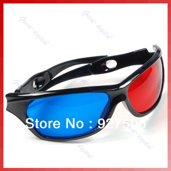 B39Free Shipping 5pcs/lot Red & Blue Cyan Anaglyph 3D Glasses for Movie Game DVD