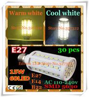 FedEX Free shipping 30 pcs 15W SMD 5630 5730 60 LED E27 E14 B22 AC110V / 220V LED Corn Bulb Light Maize Lamp Lighting spotlight