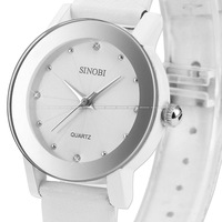 Brand Lovers Simple SINOBI Crystal Silvery Small Case Girl Lady Women Female Quartz White Leather Band Wrist Dress Watch/ SNB037