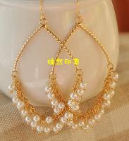 Fashion pearl big circle earrings no pierced earrings fashion earring