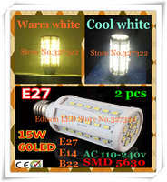 Free shipping 2 pcs 15W SMD 5630 60 LED E27 E14 B22 AC110-240V Corn Bulb Light Maize Lamp LED Bulb LED Lighting Warm/Cool white