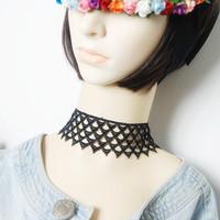 Lolita black lace women's necklace short design chain false collar