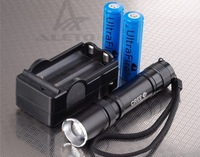 1600Lm CREE XM-L T6 LED Zoomable Mini Flashlight Torch Zoom 2X18650+Charger