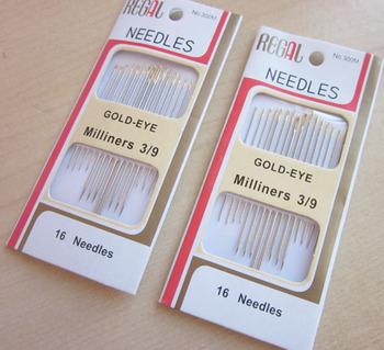 Free shipping Gold-eye needles embroidery  needle beaded needles cross stitch needle diy tool 16pcs/set  3 sets/lot
