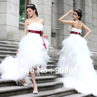 Free Shipping Strapless Off The Shoulder Backless Sashes Long  Train White Elegant Wedding Dress Ball Gown 268