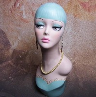 Vintage Hand Painted Fiberglass Mannequin Head For Wig Jewelry Hat And Collection