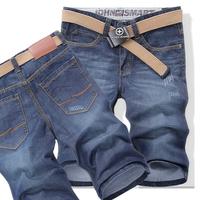 2013 summer thin slim straight denim shorts capris men's clothing plus size male trousers