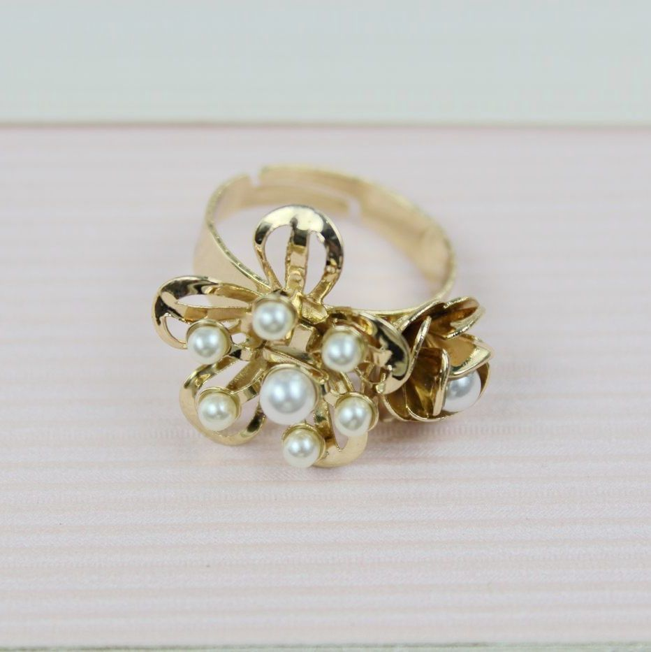 (Minimum Order is US $15) Accessories fashion small flower pearl open ring cd-9 ! xn(China (Mainland))