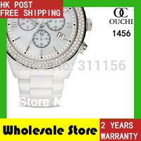 2014 Christmas Gift! Men quartz top luxury brand fashion women dress watch ceramic round  womens watches AR1456 gift box