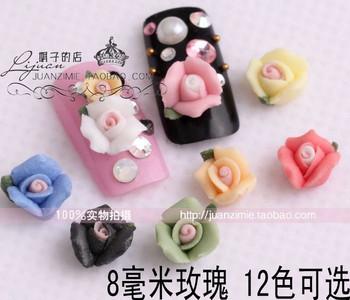10 8 mm small porcelain flowers rose ceramic flower nail art applique false nail chm80 -