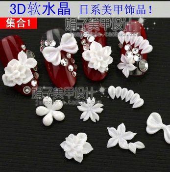 Nail art accessories 3d soft crystal flower series false nail crystal armour rz91 -
