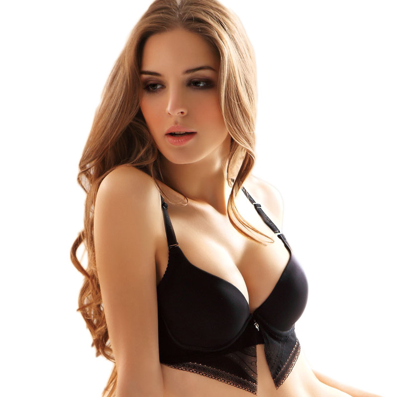 (Free shipping)Solid color deep V-neck glossy sexy comfortable seamless bra(China (Mainland))