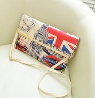women summer vintage national flag envelope bag, oil painting messenger bag,fashion floral day clutch bag,cross body bags