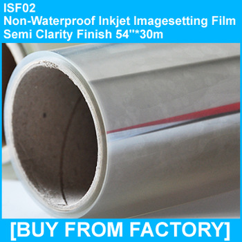 "Inkjet Imagesetting Film Semi-clarity Not water proof  54""*30M"