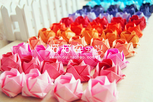 Diy handmade origamiisfragile KAWASAKI rose finished products paper multi-color rose birthday present(China (Mainland))