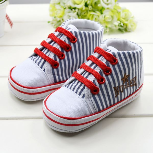 Wholesale 3 pair/lot stripe kids infants toddler baby boys girls soft sole childrens shoes first walker free shipping 1087(China (Mainland))