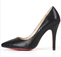 Sexy serpentine pattern black women's elegant high-heeled shoes single shoes black party shoes work shoes