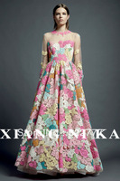 New runway fashion 2013 women's spring and summer LUXURY  gauze multicolour lace embroidered designer elegant maxi long dress