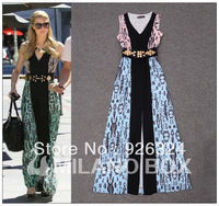 Free shipping  2013 Paris maxi dress  colour leopard print dress V-neck open the fork dress skirt