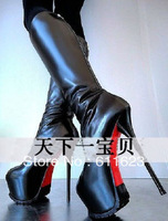 Black leather 16cm simple fashion high-heeled boots High long daughter boots