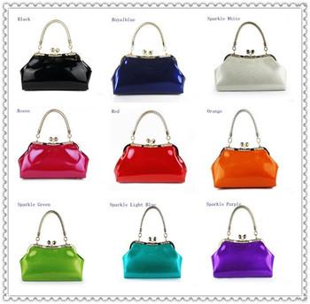 A+ 2014 Patent Leather Handbag Women's Shoulder Bag Red Bridal Bag Flower Wedding Handbags Branded Design GBG025