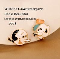 Asymmetrical stud earring oil cartoon no pierced earrings cushiest earring