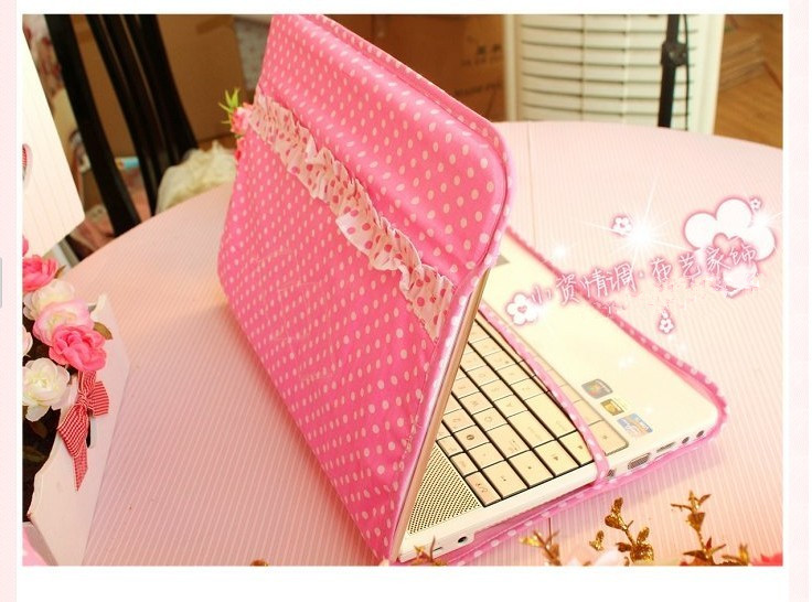 Notebook sleeve pink polka dot laptop dust cover(China (Mainland))