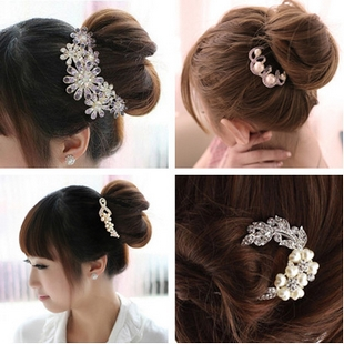 Pearl rhinestone hair stick hair maker child the bride hair accessory hair accessory luxury u hairpin comb(China (Mainland))