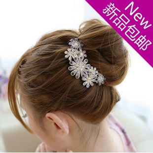 Hair accessory rhinestone flower hair stick fat plug hair comb maker insert comb hair accessory luxury rhinestone comb(China (Mainland))
