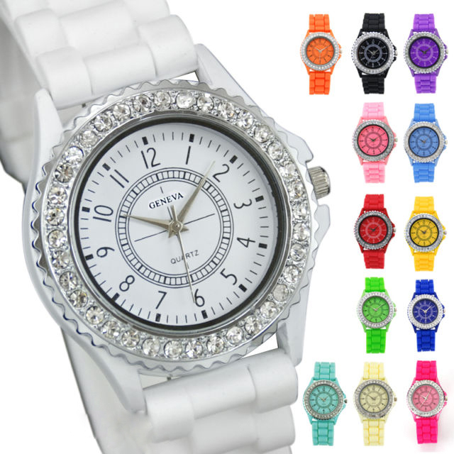 Free Shipping Mix Color Unisex Table Casual Sport Crystal Silicone Silicon Jelly Rubber Wrist Watch(China (Mainland))