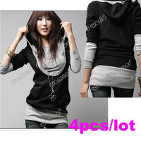 Hot sale 4pcs/lot Korea Women's Warm Zip Up Outerwear Long Sleeve Cotton tops dress Hoodie coat Sweatshirts 2312