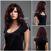 New Style Fashion Medium Long Curly Women Hair Wigs/Womens Girls Red Curly Wigs With a Bangs/Best Quality Synthetic hair wig