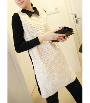 2013 spring rabbit hair patchwork turn-down collar plush knitted one-piece dress