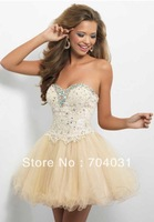 Cocktail Dresses Sweetheart two-tone with applique beaded bust and beige layers tulle