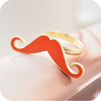 Min order is $10  fashion cute vintage style glaze oil drip  mustache finger can adjust open ring