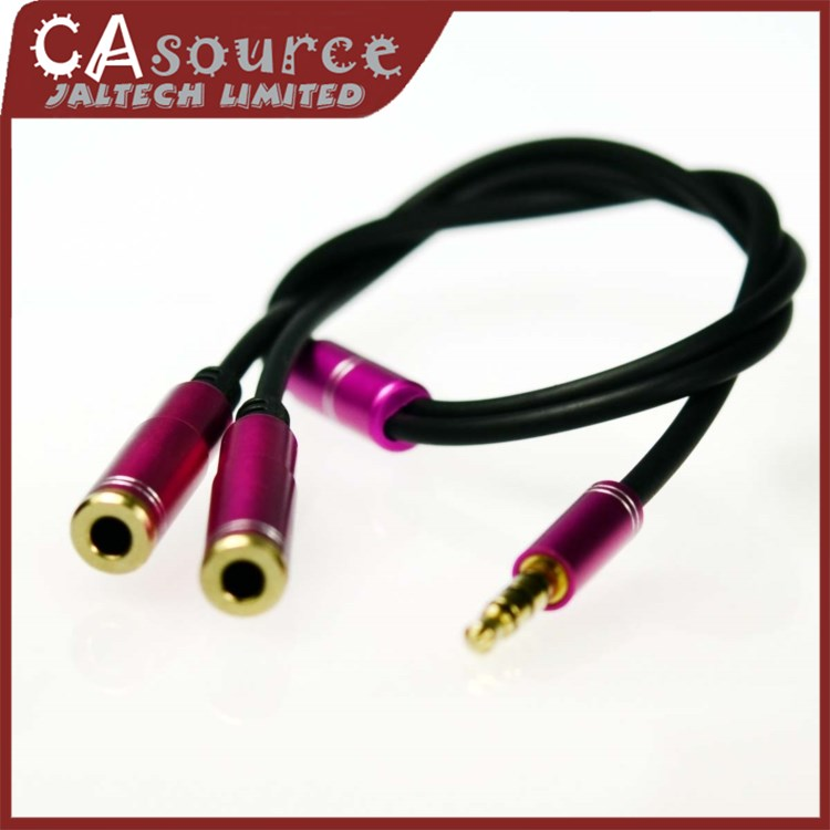 3.5mm Extension Earphone Headphone Jack Audio Splitter Connecter Extend Cable Adapter Male to 2 Female Free Shipping(China (Mainland))