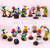 Free shipping 20sets/lot PVC WII Super Mario Bros Toy Yoshi Luigi Bowser Toad Figures Set of 13pcs