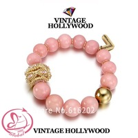 Pl972 Vintage Hollywood Pink Beads Female Beads Bracelet Fashion Ol Gold Plated Charm Bracelet Women's Accessories