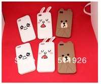 Freeshipping 1pcs/lot Cartoon Shy 3D rabbit bear style case for iphone4 4s 5