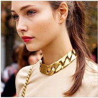 "2013 New Fashion Shiny Cut LIGHT GOLD Plated Chunky Aluminum Curb Chain Necklace 18"" Link Necklace"