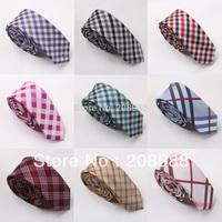 Hot Selling! Fashion plaid tie narrow skinny neck tie men's tie free shipping 20pcs/lot  #1579