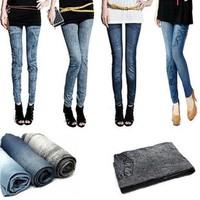 Spring and summer elastic seamless legging faux denim female ankle length trousers pencil pants capris