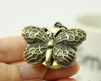 Fashion vintage necklace bronze butterfly necklace pocket watch
