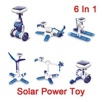 Retail box packing  Solar Novelty Toy 6 in 1 Manual   Children birthday Christmas gift