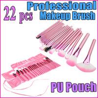 22pcs 22 pcs Professional Makeup Brush Set Cosmetic Brush Kit Makeup Tool Nylon Make up Brushes with Pink Roll up Leather PU Bag