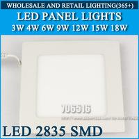 LED Panel Light ceiling lighting Square Down Recessed Spot light 3W 4W 6W 9W 12W 15W 18W 2835SMD Cold white/warm white AC85-265V