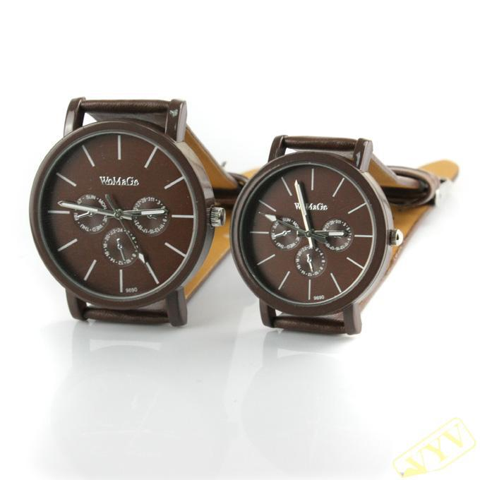 Matching his & hers watches Quatrz new style /A pair leather watch brown Genuine CITOLE quartz wrist watch for lovers Freeshipin(China (Mainland))